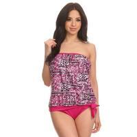 Women's Pink/White Nylon/Spandex Print Bandeau Blouson Tie Tankini