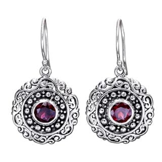 Handcrafted Sterling Silver 'Solar Flares' Garnet Earrings (Indonesia)