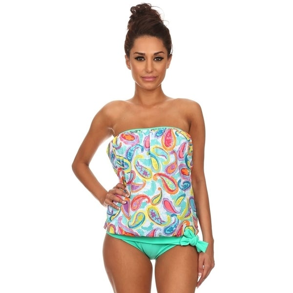 e309cc7998f19 Shop Women's Paisley Bandeau Blouson Green Nylon/Spandex Tie Tankini - On  Sale - Free Shipping On Orders Over $45 - Overstock - 11959127
