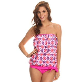 Dippin' Daisy's Pink Watercolor Bandeau Blouson Tie Tankini