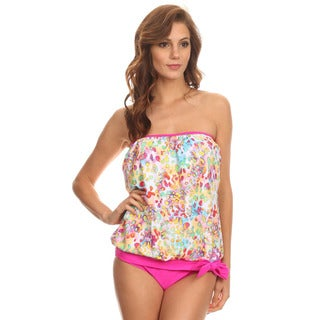 Dippin' Daisy's Women's Neon Pink and White Leopard Print Nylon and Spandex Bandeau Blouson Tie Tankini