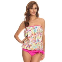 Women's Neon Pink and White Leopard Print Nylon and Spandex Bandeau Blouson Tie Tankini