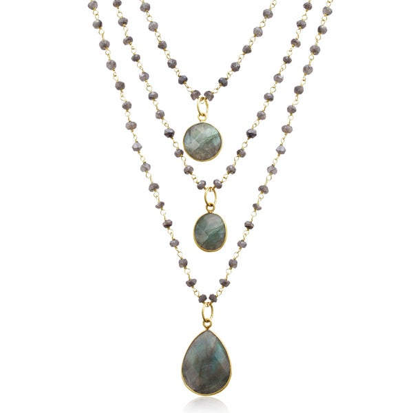 138 TGW Labradorite Triple Strand Beaded Necklace In Yellow Gold Over Sterling Silver, 26 Inches