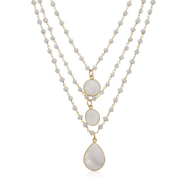 138 TGW Moonstone Triple Strand Beaded Necklace In Yellow Gold Over Sterling Silver, 26 Inches