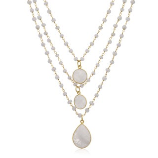 138 TGW Moonstone Triple Strand Beaded Necklace In Yellow Gold Over Sterling Silver, 26 Inches - White