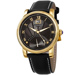 Link to Akribos XXIV Men's Quartz Retrograde Dual-Time Gold-Tone Leather Strap Watch Similar Items in Men's Watches