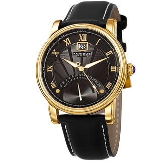 Akribos XXIV Men's Quartz Retrograde Dual-Time Gold-Tone Leather Strap Watch