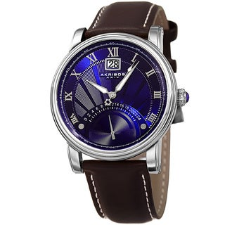 Akribos XXIV Men's Quartz Retrograde Dual-Time Blue Leather Strap Watch