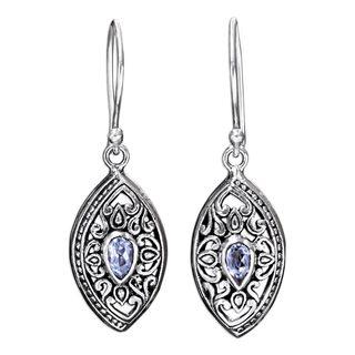 Sterling Silver 'Karma Shield' Blue Topaz Earrings '(Indonesia)