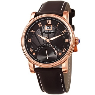 Akribos XXIV Men's Quartz Retrograde Dual-Time Black Leather Strap Watch