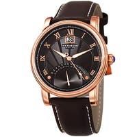 Akribos XXIV Men's Quartz Retrograde Dual-time Watch with Brown Leather Strap