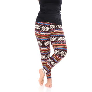 White Mark Women's Multicolor Polyester/Spandex Plus-size Printed Leggings
