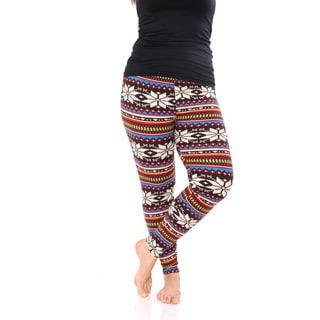 White Mark Women's Multicolor Polyester/Spandex Plus-size Printed Leggings