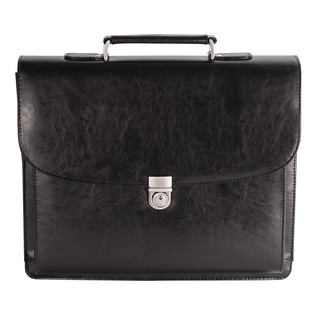 Bugatti Executive Black Leather 15.6-inch Laptop Briefcase