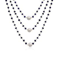 41 TGW Blue Sapphire and Pearl Triple Strand Necklace In Yellow Gold Over Sterling Silver, 20 In