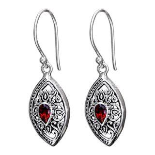 Handcrafted Sterling Silver 'Karma Shield' Garnet Earrings (Indonesia)