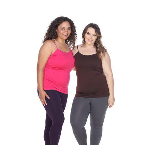 White Mark Women's Polyester/Spandex Plus-size Tank Tops (Pack of 2)