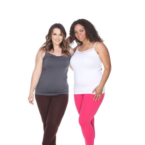 White Mark Women's Polyester and Spandex Plus Size Tank Tops (Set of 2)