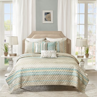 Madison Park Jade Taupe Quilted 6-piece Coverlet Set