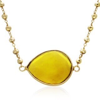 60 TGW Citrine Endless Necklace In Yellow Gold Over Sterling Silver, 34 Inches