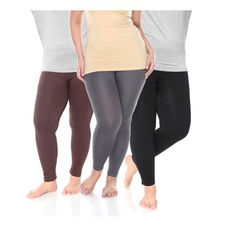White Mark Women's Plus-size Polyester and Spandex Leggings (3-pack)