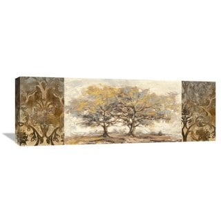 Big Canvas Co Lucas 'Golden Trees' Stretched-canvas Artwork
