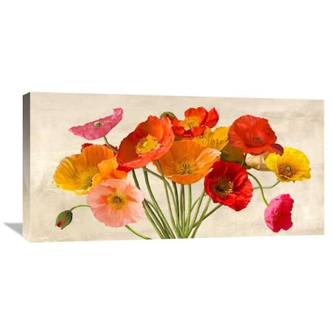 Global Gallery Luca Villa 'Poppies in Spring' Stretched Canvas Artwork