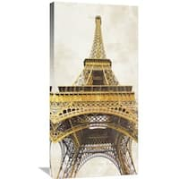 Global Gallery Joannoo 'Gilded Eiffel Tower' Stretched Canvas Artwork