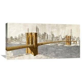 Global Gallery Joannoo 'Gilded Brooklyn Bridge' Stretched Canvas Artwork