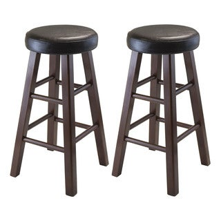 Winsome Marta Wood/Leather Round Counter Stool (Set of 2)