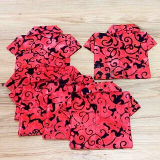 Set of 6 Handmade Cotton 'Ruby Red Nebula' Coasters (Indonesia)