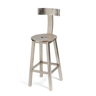Hip Vintage Silver Steel 30-inch Seat Height Barstool