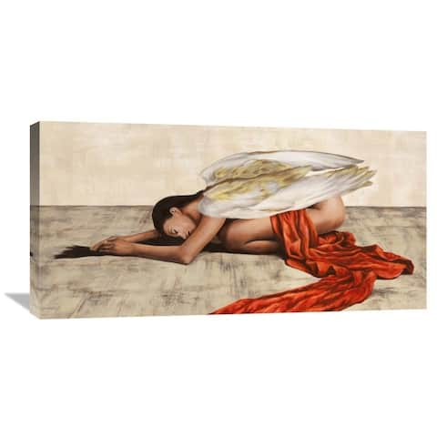 Global Gallery Sonya Duval 'Reclined Angel' Stretched Canvas Artwork - Red