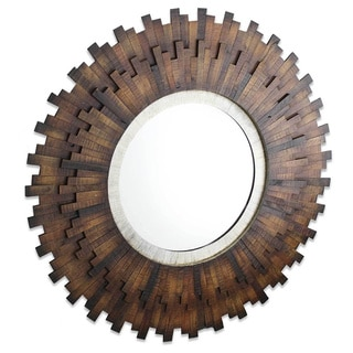 Asher Wood-framed Round Wall Mirror - Brown - A/N