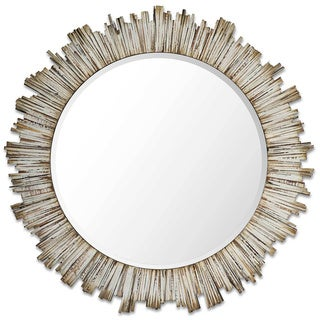 Pinna Natural Wood Beveled Wall Mirror - Antique White