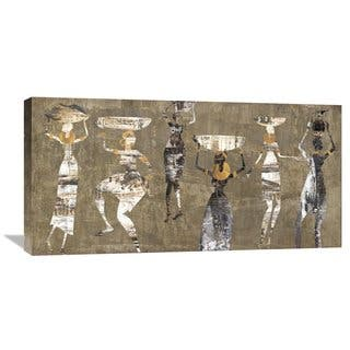 Global Gallery Cynthia Fields 'African Dance' Stretched Canvas Artwork - Brown