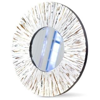 NA Mirrors Luxom I Natural Wood Beveled Wall Mirror
