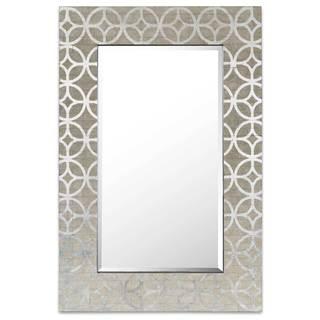 Salient Silver Leaf Wood Wall Mirror
