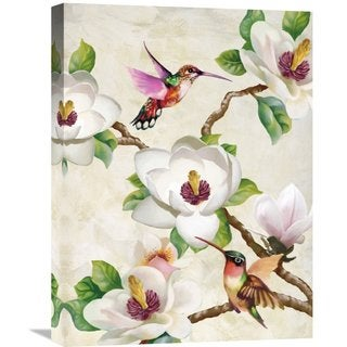 Big Canvas Co Terry Wang 'Magnolia and Humming Birds' Stretched Canvas Artwork