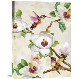 Global Gallery Terry Wang 'Magnolia and Humming Birds' Stretched Canvas Artwork - White