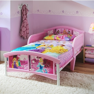 Disney Princess Pink Metal, Plastic, Polyester Blend Toddler Bed