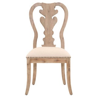 Gray Manor Brandon Distressed Tan Acacia, Linen, and Cotton Dining Chairs (Set of 2)
