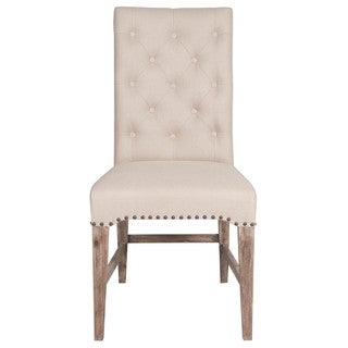 Benjamin Cream Acacia, Cotton, Linen Dining Chair (Set of 2)