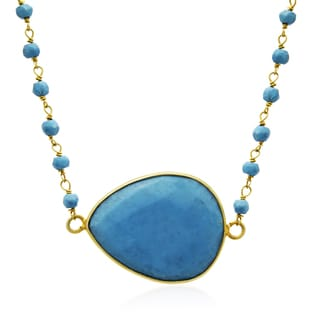 60 Carat Turquoise Endless Necklace In 14K Yellow Gold Over Sterling Silver, 34 Inches