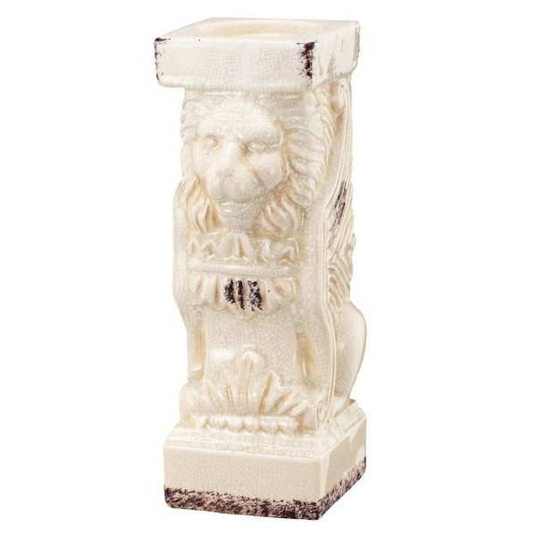 Bari Off-white Ceramic 4.5-inch x 6-inch x 12-inch Pillar Candle Holder