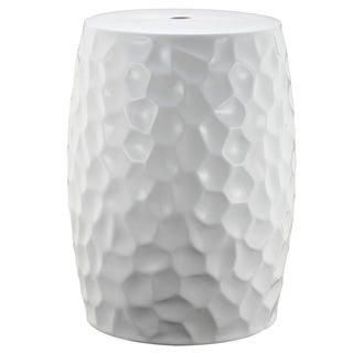 White Ceramic 13-inch x 18-inch Dale Garden Stool