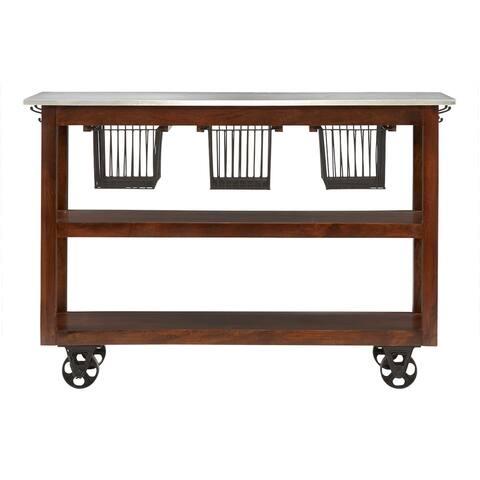 Carbon Loft Akroyd Medium Brown Rolling Kitchen Cart