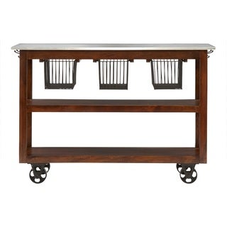 Carbon Loft Akroyd Medium Brown Rolling Kitchen Cart