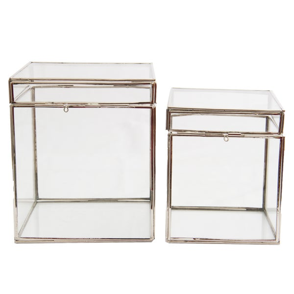 Clear Glass Decorative Boxes (Set of 2)