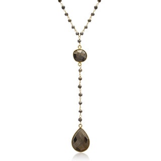 79 Carat Pyrite Pear Shape Y Bar Strand Necklace In 14K Yellow Gold Over Sterling Silver, 36 Inches